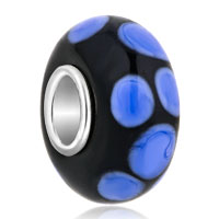 Blue Ball Dotted Lampwork Silver Murano Glass Beads Charms Bracelets Fit All Brands
