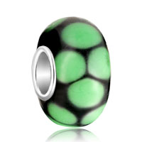 Green Circle Dotted Murano Glass Beads Charms Bracelets Fit All Brands