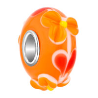 Orange 3 D Flower Floral Murano Glass Beads Charms Bracelets Fit All Brands
