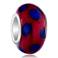 Metallic Red Blue Dots Fit All Brands Murano Glass Beads Charms Bracelets