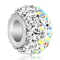 Silver Plated Clear Rhinestone Crystal Shamballa Murano Glass Beads Charms Bracelets Fit All Brands