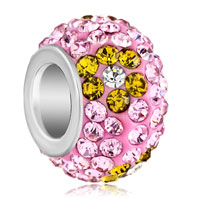 Silver Plated Yellow Flower Rhinestone Rose Pink Crystal Ball Murano Glass Beads Charms Bracelets Fit All Brands