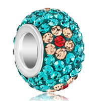 Silver Plated Yellow Flower Rhinestone Ocean Blue Ball Murano Glass Beads Charms Bracelets Fit All Brands