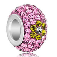 Silver Plated Yellow Flower Light Pink Rhinestone Ball Murano Glass Beads Charms Bracelets Fit All Brands