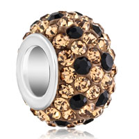 Silver Plated Brown Black Crystal Shamballa Ball Murano Glass Beads Charms Bracelets Fit All Brands