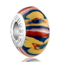 Red Yellow Blue Colourful Stripes Painting Polymer Clay Fit All Brands Murano Glass Beads Charms Bracelets