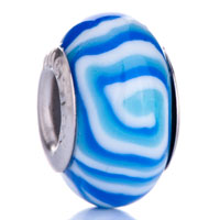 White Blue Lollipop Euro Murano Glass Beads Charms Bracelets Fit All Brands