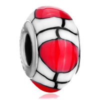 Polymer White Red Lampwork Silver Murano Glass Beads Charms Bracelets Fit All Brands