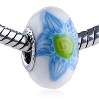 Polymer Pale Blue Green Flower Murano Glass Beads Charms Bracelets Fit All Brands