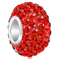 Birthstone Charms 925 Sterling Silver Gorgeous Red Crystal Bead Fit Bead