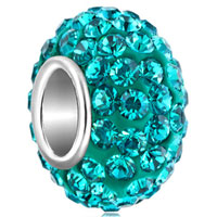 Birthstone Charms Jewelry 925 Sterling Silver Blue Crystal Charm Bead Fit Bead