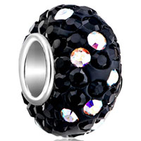 Birthstone Charms 925 Sterling Silver Crystal Classic Black Silver Core Bead