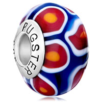 Orange Red White Millefiori Flower Petal Blue 925 Sterling Silver Solid Cores Fit All Brands Murano Glass Beads Charms Bracelets