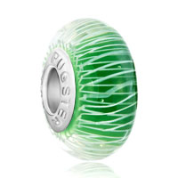 Emerald Green Cream Feather Line Charmcharm Murano Glass Beads Charms Bracelets Fit All Brands