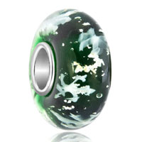 Emerald Green White Christmas Snowflake Murano Glass Beads Charms Bracelets Fit All Brands