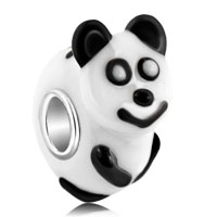 Lampwork Cute 3 D Baby Panda Animal Murano Glass Beads Charms Bracelets Fit All Brands