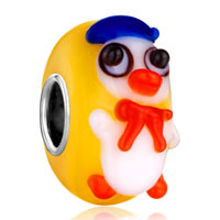 Cute Duck Ducky Orange Yellow Fit All Brands Murano Glass Beads Charms Bracelets