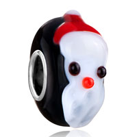 Cute Christmas Snowman Jet Black Fit All Brands Murano Glass Beads Charms Bracelets