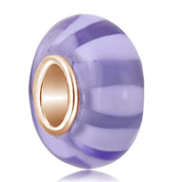Amethyst White Linestyle Stripe Murano Glass Beads Charms Bracelets Fit All Brands