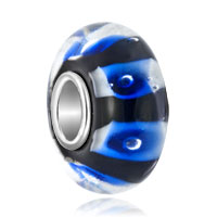 Black Stripe Ocean Blue Bubble Fit All Brands Murano Glass Beads Charms Bracelets