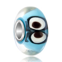 Ocean Blue Aquamarine Color Animal Eyes Fit All Brands Murano Glass Beads Charms Bracelets