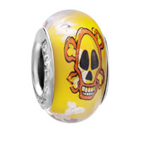 Yellow Orange Skull White Dots Luminous Murano Glass Beads Charms Bracelets Fit All Brands