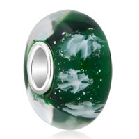925 Sterling Silver Let It Snow Snowflake Emerald Green Fit All Brands Murano Glass Beads Charms Bracelets