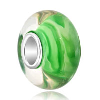 925 Sterling Silver Milk White Stripes Green Emerald Fit All Brands Murano Glass Beads Charms Bracelets