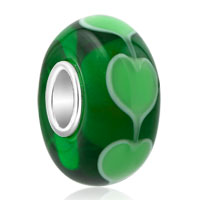 925 Sterling Silver Green Heart Love Murano Glass Charms Bracelets