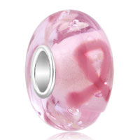 925 Silver Breast Cancer Awareness Pink Ribbon Murano Glass Beads Charms Bracelets Fit All Brands