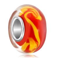 Yellow Swirls Orange Fits Murano Glass Beads Charms Bracelets Fit All Brands