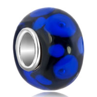 Sapphire Blue Dots Petals Onyx Black Fit All Brands Murano Glass Beads Charms Bracelets