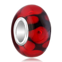925 Sterling Silver Black Red Spots Murano Glass Beads Charms Bracelets Fit All Brands