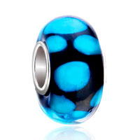 925 Sterling Silver Black Aquamarine Dots Murano Glass Beads Charms Bracelets Fit All Brands