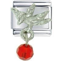 Bracelet July Ruby Color Baby Angel Italian Charms Dangle Italian Charm