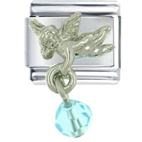 Bracelet December Blue Zircon Color Baby Angel Italian Charms Dangle Italian Charm