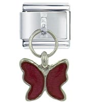 Butterfly Red Birthstones Jewelry Italian Charm Dangle Italian Charm