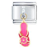 Golden Italian Charm Bracelet Pink Flower Sandal Dangle Italian Charm