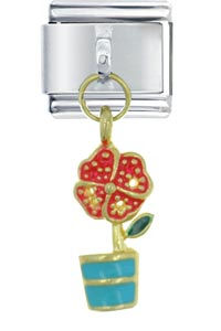 Dangle Flower Pot Italian Charms Dangle Italian Charm