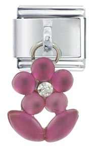 Mauve Flower Dangle Italian Charms