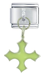 Glow In Dark Celtic Cross Green Inspriational Italian Charm Dangle Italian Charm