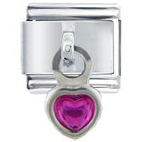 Dangle Purple Heart Italian Charm Bracelet Dangle Italian Charm