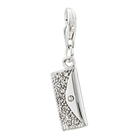 925 Sterling Sliver Party Girls Purse Handbag Clear Clasp Pendant Dangle European Beads Fit All Brands