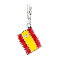925 Sterling Sliver Spain Flag Crystal Dangle Lobster Clasp Charm For Charm Bracelet