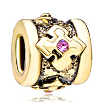 Birthstone Cylindricalshaped Pink Element Crystal Gold Plated Beads Charms Bracelets Fit All Brands