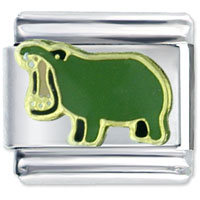 Green Hippo Spring Italian Charms