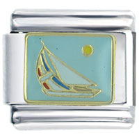 Golden Italian Charm Bracelet Sail Boat Seasonal Jewelry