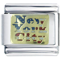 New York City Travel Flags Italian Charm Bracelet