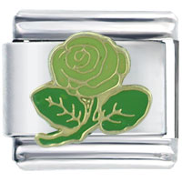 Green Rose Flower Italian Charms