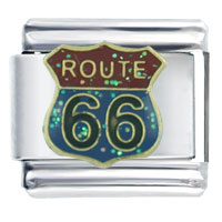 Glitter Route 66 Travel Flags Italian Charms